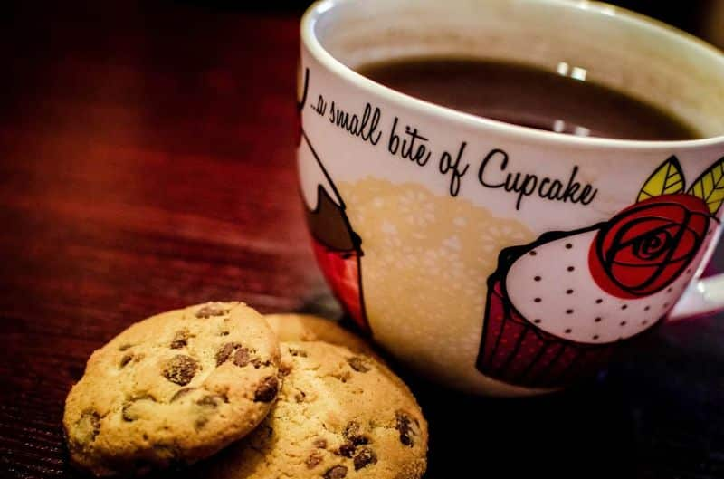 National chocolate-chip day,                 cookies coffee dessert
