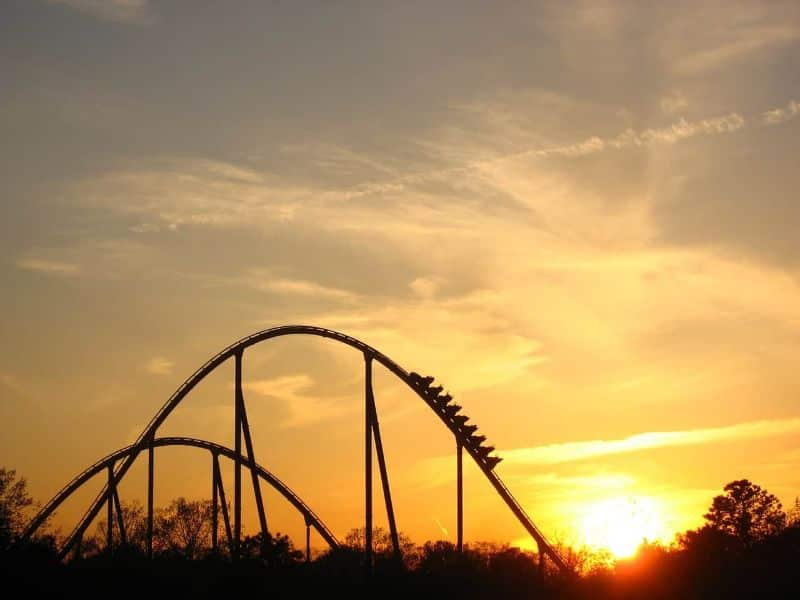 National roller-coaster day,                 sunset roller coaster ride