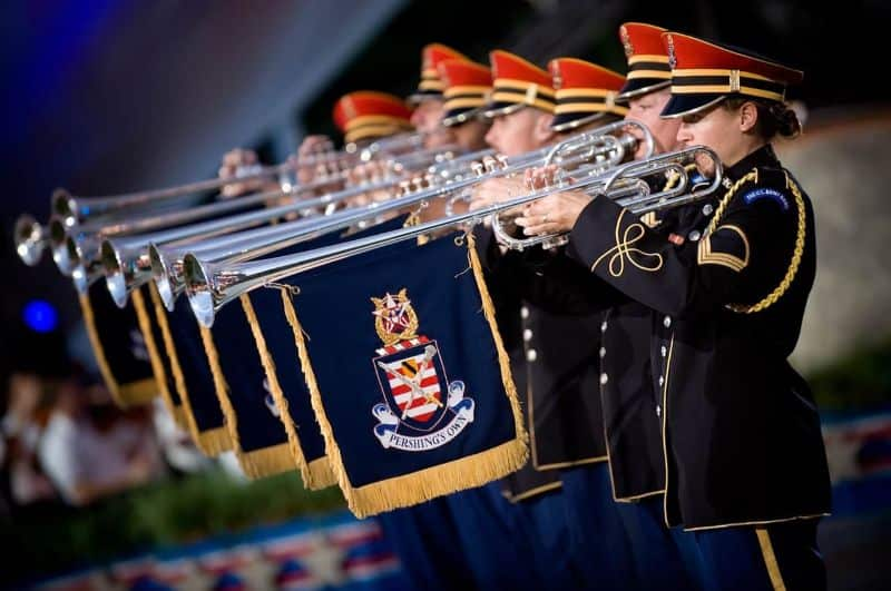 National trumpet day,                 trumpeters heralds soldiers                angel wing blowers                city crane construction